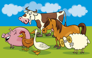 Poster Ranch Group of cartoon farm animals