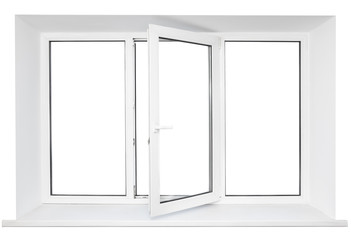 White plastic triple doors window isolated on white background