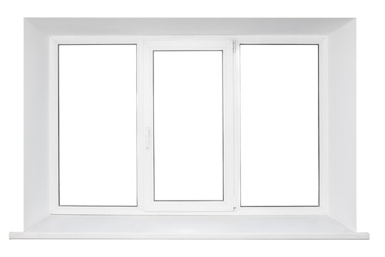 White plastic triple door window isolated on white background