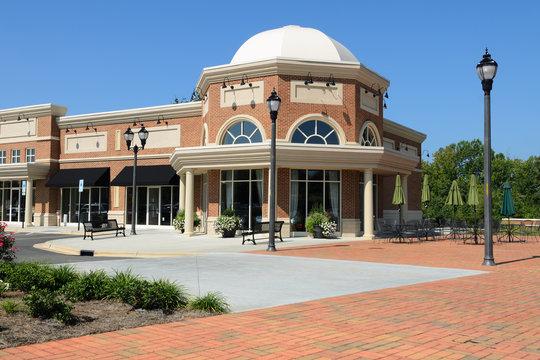 A suburban shopping center architecture fragment