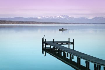 Aluminium Prints Purple wooden jetty