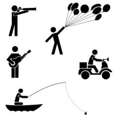 Leisure and recreation black icon set