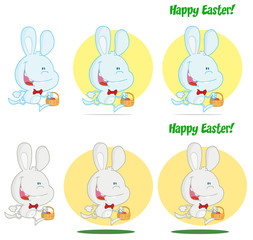 Happy Bunny Running With Easter Eggs Different Colors.Collection