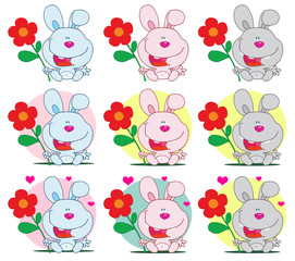 Bunny Holding A Flower Different Colors. Vector Collection