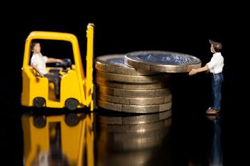 Verladung von Euro Münzen