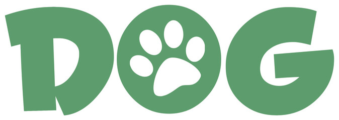 Dog Green Text With Paw Print
