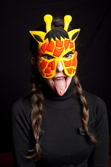 mysterious woman with carnival giraffe  mask