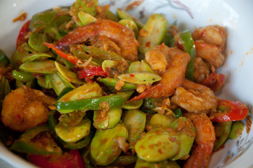 fried chilli shrimp with vegetable and Parkia speciosa