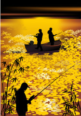 fishermen silhouettes at gold sunset