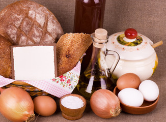 Tasty food ingredients and baking on background with banner add