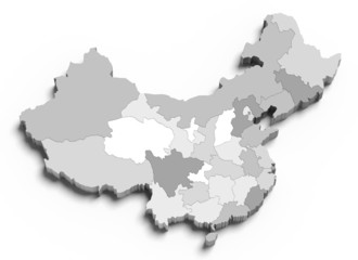 3d China grey map on white