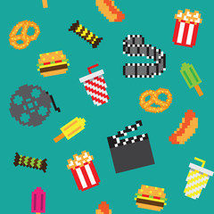 Spoed Foto op Canvas Pixel Pixel movie icons seamless retro pixel pattern