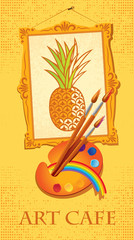 banner with picture of pineapple with brushes and palette
