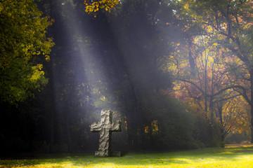 Rustic cross cemetery