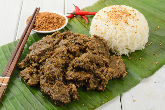 Beef Rendang & Sticky Rice -Malaysian dry beef stew with coconut