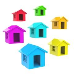 Maisons colorées 3d
