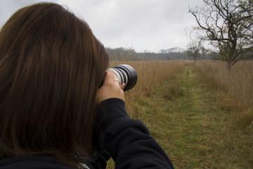 Fotografa naturalista nel parco