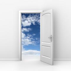 door to sky - heaven or freedom 3d concept