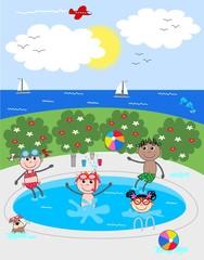 mixed ethnic children having fun in the pool