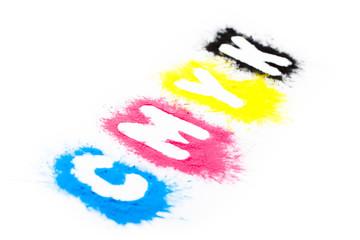 Druckfarben mit CMYK Schrift