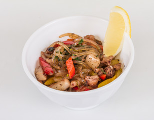 Asian spicy seafood noodle