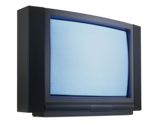 Old fashioned television isolated with clipping path