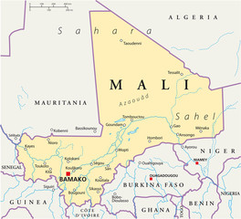 Mali political map with the capital Bamako, national borders, most important cities, rivers and lakes. Illustration with English labeling and scale. Vector.