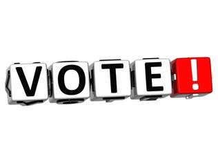 3D Vote Block Text  on white