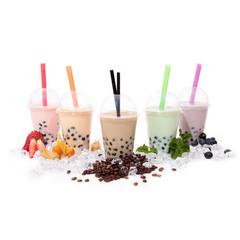 Bubble Tea bunt  verschiedene Sorten mit Eis und Deko