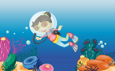 Poster Submarine Underwater scene