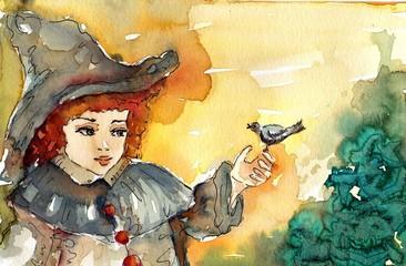 Keuken foto achterwand Schilderkunstige Inspiratie skrzat z ptaszkiem