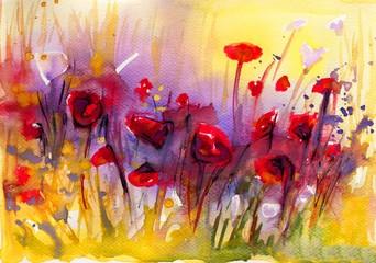 Foto auf Leinwand Aquarelleffekt Inspiration piekny obraz czerwonych maków
