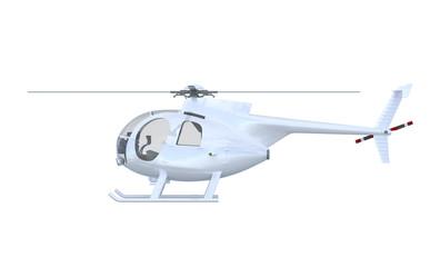 Silber Hubschrauber Seitenansicht - isoliert