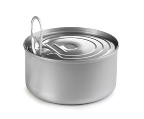 Tin can with pull ring isolated on white