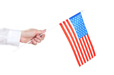 female hand with American flag isolated on white