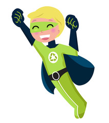 Poster Superheroes Green super hero boy isolated on white