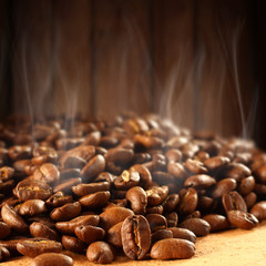 coffee beans and smoke