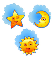 Vector illustrations of sun, moon and star