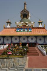 Entrée d'un temple à Lumbini, Nepal
