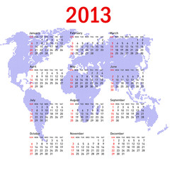 calendar 2013 with world map. Sundays first