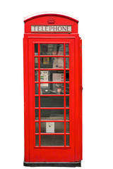 British Red Phone Booth isolated on white
