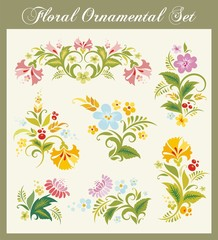 Vector Floral Ornaments in Russian Style
