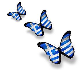 Three Greek flag butterflies, isolated on white