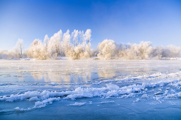 Frosty winter river