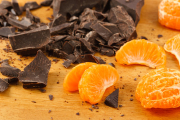 Orange Wedges With Dark Chocolate