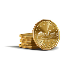Canadian dollar coins vector illustration, financial theme