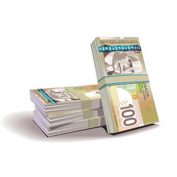 Canadian dollar banknotes vector illustration, financial theme