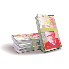 New Israeli Shekel banknotes vector illustration