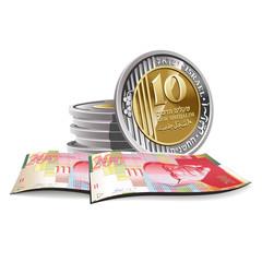 New Israeli Shekel banknotes and coins vector illustration