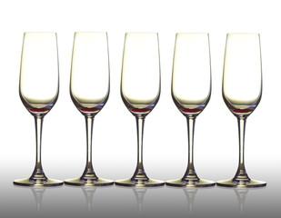 Five empty glass.